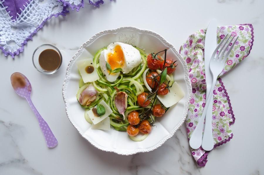 espaguetis calabacin huevo 1