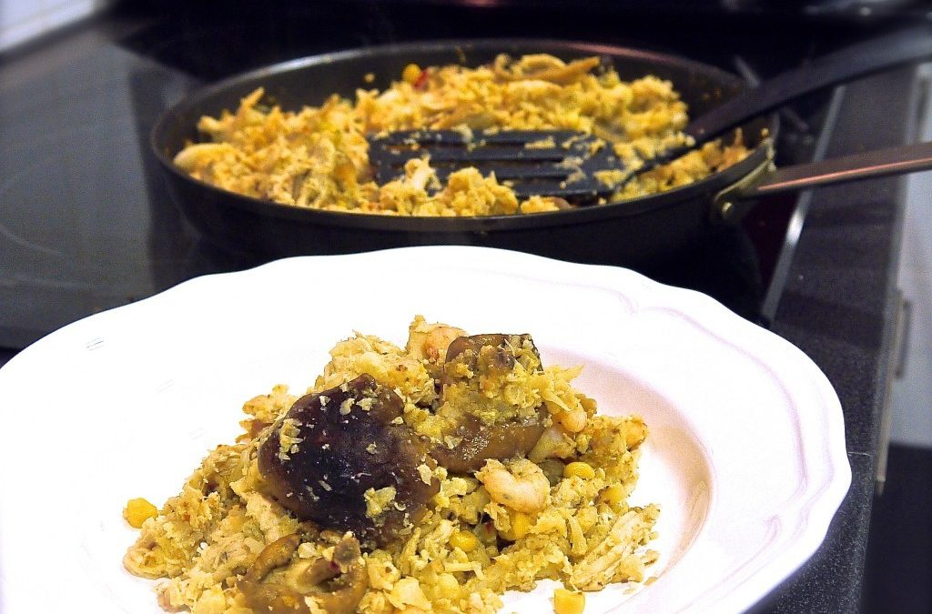 RECETA FITNESS/ Falso arroz con setas al curry bajo en carbohidratos