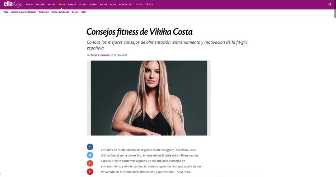 Consejos fitness de Vikika Costa