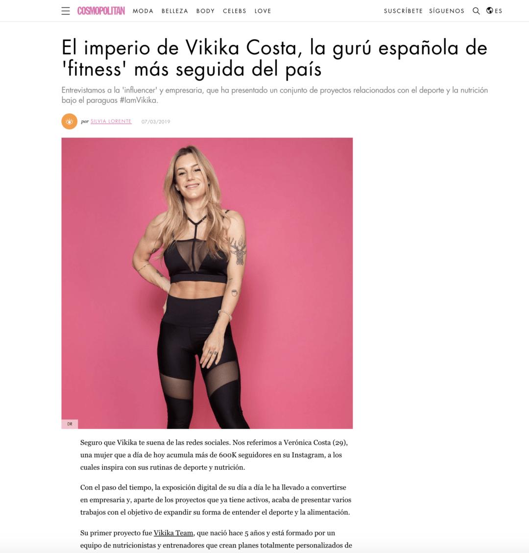 EL IMPERIO DE VIKIKA COSTA, LA GURÚ ESPAÑOLA DE 'FITNESS' MÁS SEGUIDA DEL PAÍS